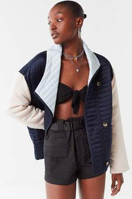 Urban Outfitters Quilted Satin Colorblock Jacket