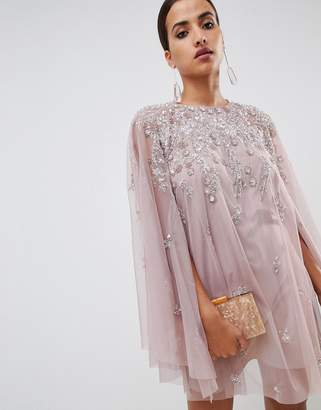 Asos Design DESIGN mini dress with heavily embellished cape