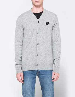 Comme des Garcons Play Cardigan in Light Grey