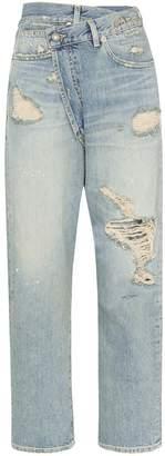 R 13 Xovr distressed jeans