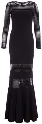 Quiz Black Mesh Long Sleeve Maxi Dress