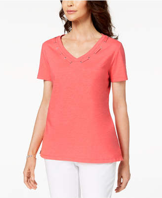 Karen Scott Cotton Grommet-Detail Top, Created for Macy's