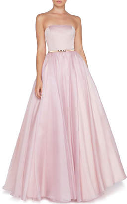 Mac Duggal Ieena for Strapless Organza Ball Gown with Satin Bodice & Bow Belt