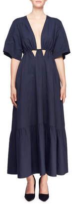 Stella McCartney Gabrielle Short-Sleeve Plunging Cutout-Waist Dress
