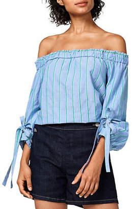 Esprit Off-The-Shoulder Tie-Sleeve Cotton Blouse