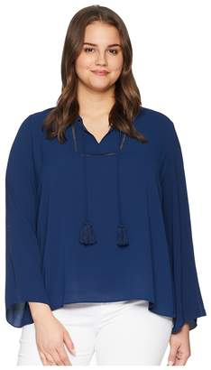 Vince Camuto Specialty Size Plus Size Bell Sleeve Tassel Tie Neck Blouse w/ Faggoting Women's Blouse