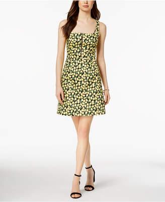 Adrianna Papell Lemon-Print Zip-Front Dress