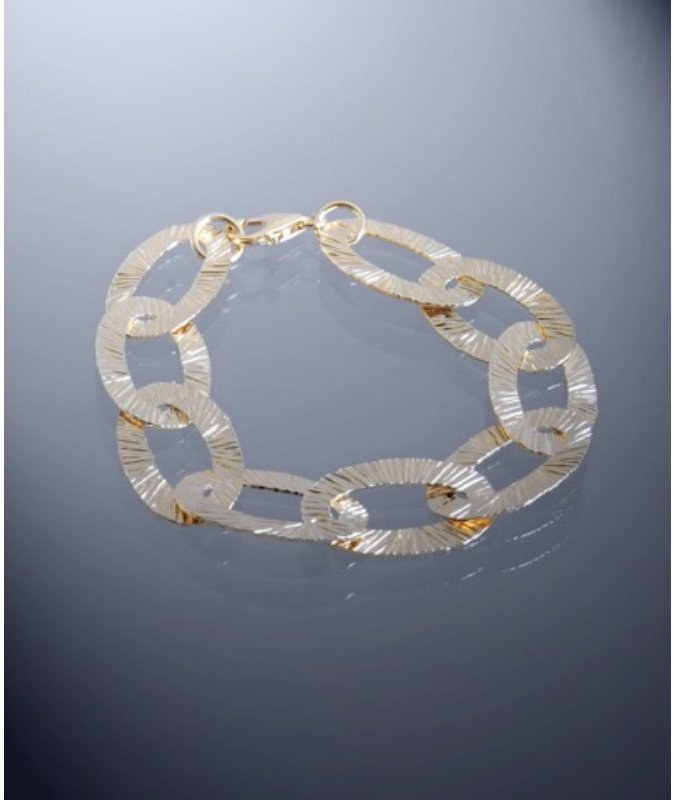 Argento Vivo gold etched oval link bracelet