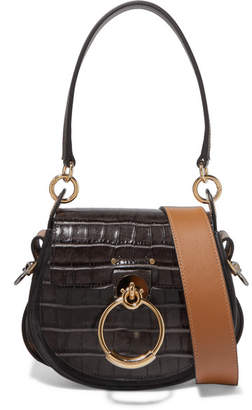 Chloé Tess Small Croc Effect Leather And Suede Shoulder Bag Dark Brown