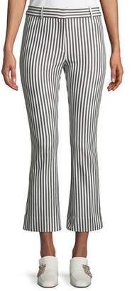 Derek Lam 10 Crosby Striped Cropped Flare-Leg Trousers