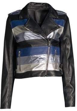 Moto The Mighty Company Stripe Leather Jacket