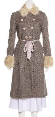 Rebecca Taylor Faux Fur-Trimmed Long Coat