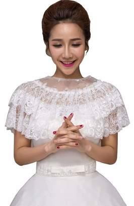 JoyVany 2 Tiers Lace Bridal Capes Jacket 2016 Beaded Wedding Shawls Wrap  Shrug 458fff3e3d90