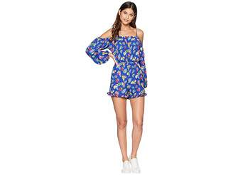 Romeo & Juliet Couture Ruffle Hem Floral Romper Women's Jumpsuit & Rompers One Piece