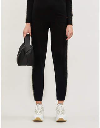 Bella Freud Britt Futuristic metallic side-stripe wool-blend jogging bottoms
