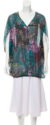 Etro Silk Printed Short Sleeve Top