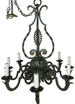 One Kings Lane Vintage Eight Light Wrought Iron Chandelier