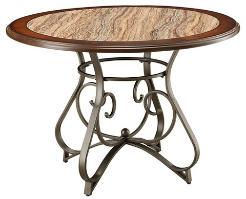 Acme ACME Barrie Dining Table - Faux Marble, Cherry Oak and Dark Bronze