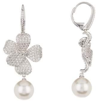 Nadri Viola Petal Pave Crystal & 9mm Pearl Drop Earrings