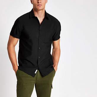 River Island Black seersucker short sleeve shirt