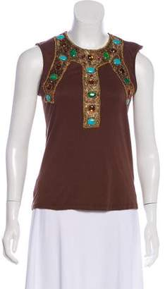 Anna Sui Embellished Sleeveless Top