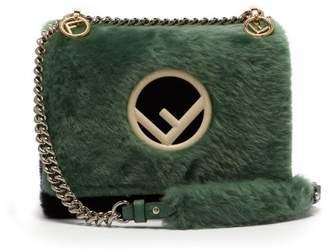 Fendi Kan I Shearling Cross Body Bag - Womens - Green Multi