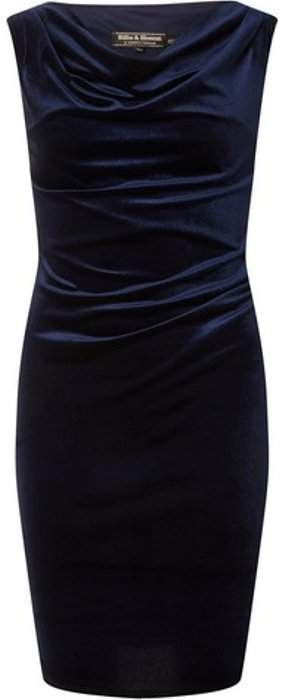 Womens **Billie & Blossom Navy Velour Bodycon Dress
