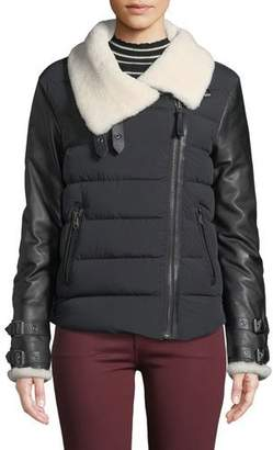 Mackage Jovie Quilted Puffer Moto Jacket w/ Sheepskin Fur