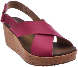 Clarks Leather Cross Band Wedge Sandals - Stasha Hale