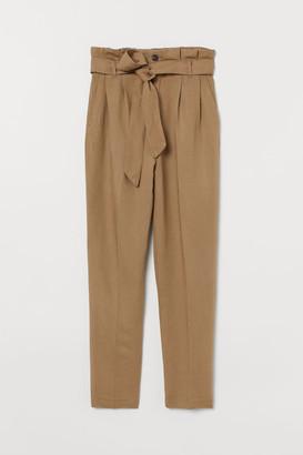 H&M Linen-blend Paper-bag Pants - Beige