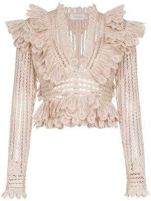 Zimmermann Battenberg cropped silk-blend lace top