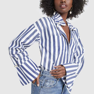 Mother of Pearl Blouse with Piecrust Collar
