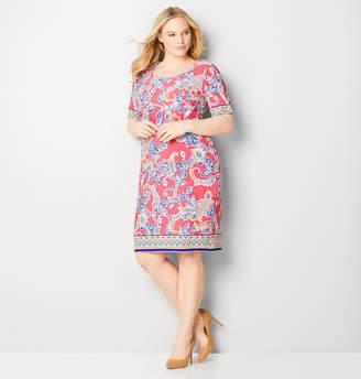 Avenue Paisley Border Puff Print Dress