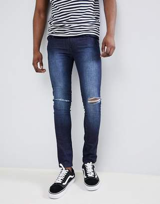 Loyalty And Faith Siret Super Skinny Jeans with Ripped Knees in Dark Wash