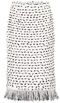Oscar de la Renta Fringed cotton-blend boucle skirt