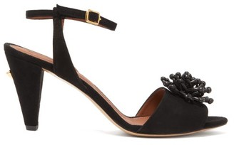 Osman Mae Flower Applique Suede Sandals - Womens - Black