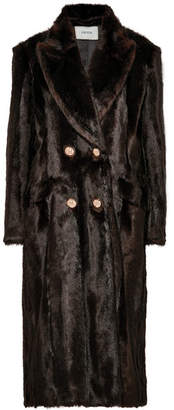 Erdem Almeda Double-breasted Faux Fur Coat - Brown