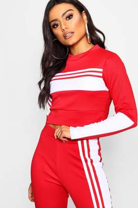 boohoo Panelled Stripe Cropped Sweat Top
