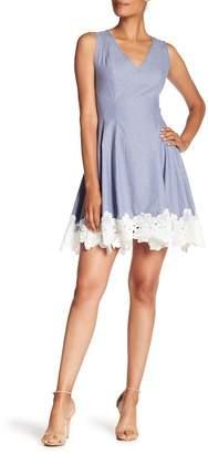Nicole Miller New York Lace Trim A-Line Dress