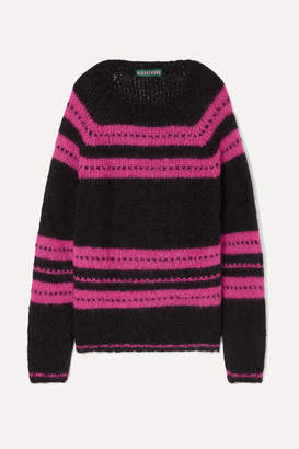 ALEXACHUNG Striped Mohair-blend Sweater - Black