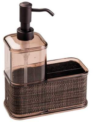 InterDesign Twillo Kitchen Soap Dispenser Pump, Sponge and Scrubby Caddy Organizer, Bronze