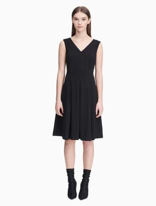 Calvin Klein v-neck illusion back pleated dress