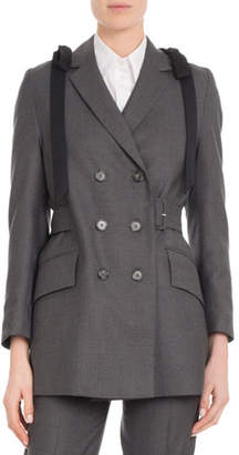 Simone Rocha Double-Breasted Shoulder-Bows Belted Wool Straight Blazer