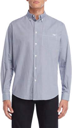 Armani Jeans Blue Regular Fit Mini Gingham Button-Down Shirt