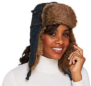 Collection XIIX Denim Trapper Hat with Faux FurTrim