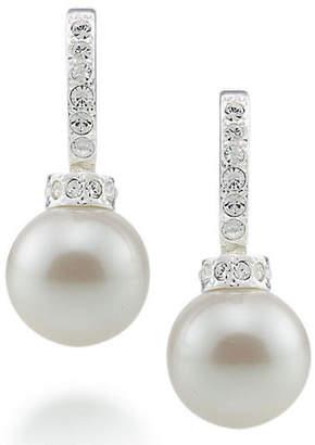Carolee Crystal And Pearl Hoop Earrings