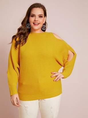 Shein Plus Peekaboo Sleeve Ribbed Knit Sweater