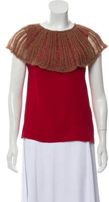 Missoni Silk Top w/ Knit Overlay Red Silk Top w/ Knit Overlay