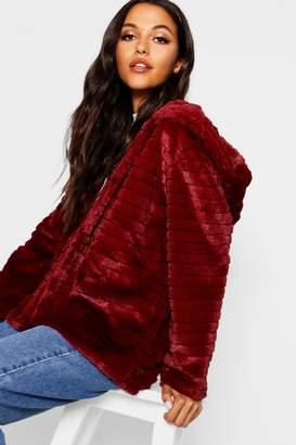 boohoo Hooded Faux Fur Coat
