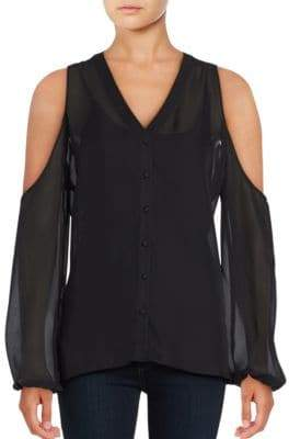 Catherine Malandrino Frieda Cold Shoulder Sheer Blouse